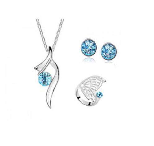 20 sets/lot,Women's Wings of angels Necklace Pendant Ring Earring 3 pcs suit Inlaid Austria Crystal with brand elements Not fading jewelry