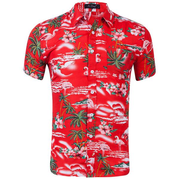 Мужская летняя Гавайи повседневная рубашка с цветочным принтом с коротким рукавом 2019 Новая мода