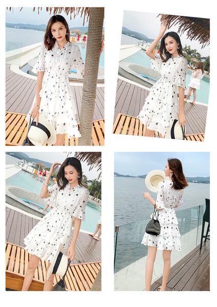 2019 New Floral Chiffon Dress Print Summer Web Celebrity Korean Women Dress Sweet Long Beach Skirt Stars