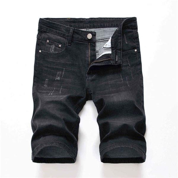 Tasarımcı Erkek Düz Jean Şort Yaz Sıska Delik Siyah Gri Erkek Streç Kot Moda Erkek Giyim