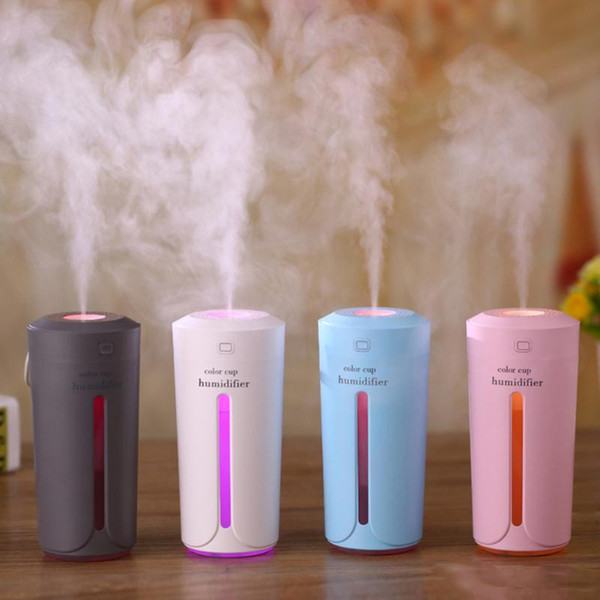 New 230ml Mini Air Humidifier USB Ultrasonic Humidifier Car Aroma Diffuser Electric Essential Oil Diffuser Cup 7 Color LED Night Lights