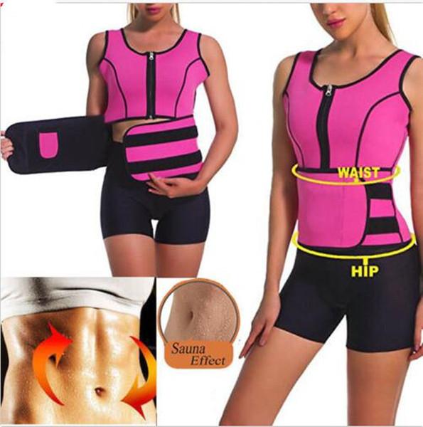 Sweat Sauna Efeito Shaper Do Corpo Das Mulheres Thermo Neoprene emagrecimento Vest Trainer Cintura Cinto Shapewear Corset Shaper Do Corpo Mais Magro S-6XL A42503