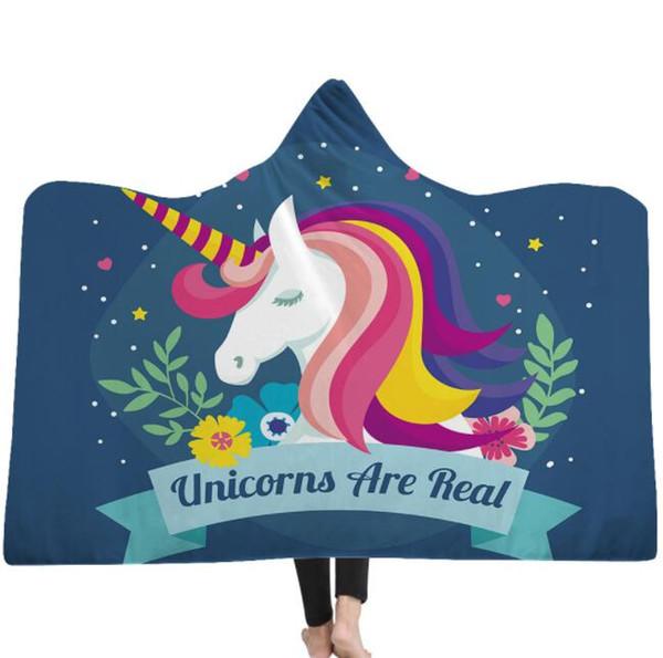 kids Unicorn Hooded Blankets Sherpa Cloak Dream Unicorn Series Hoodie Blanket 3D Animal Printed Winter Warm Fleece Blanket With Hat KKA6238