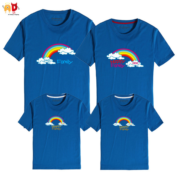good quality 1PCS Rainbow Pattern Family Matching T-shirt Dad and Son Mother and Daughter Clothes Summer Cotton Clothing Together Forever