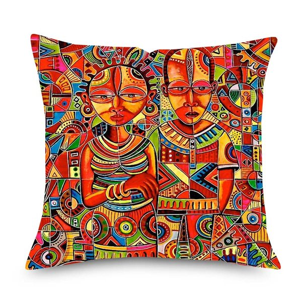 African Abstract Portrait Painting Cushion Cover 45x45cm African Culture Home Decorative Linen Pillows Cover for Sofa Chair Seat
