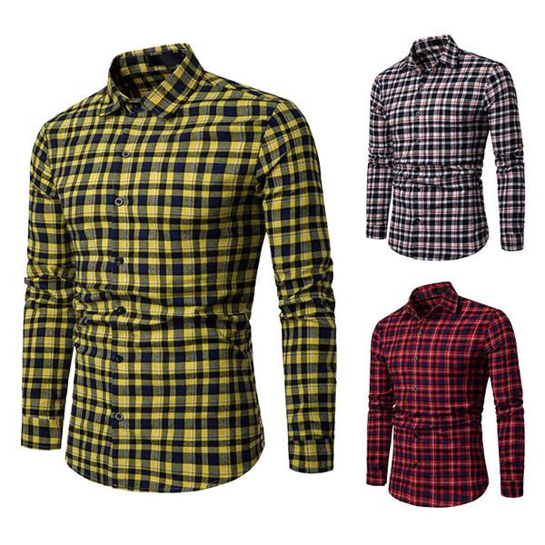 2019 New Autumn Fashion Brand Mens Clothes Slim Fit Men Long Sleeve Shirt Mens Plaid Casual Business Shirt Social Plus Size