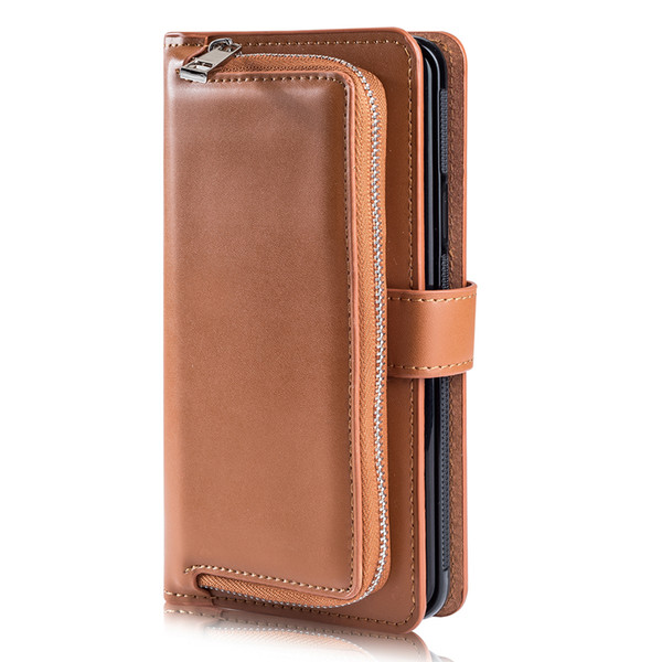 Leather Protective Cover for Samsung S10e S10 S8 S9 Plus Note 8 Note 9 Card Wallet Magnetic Removable Back Cover for Samsung