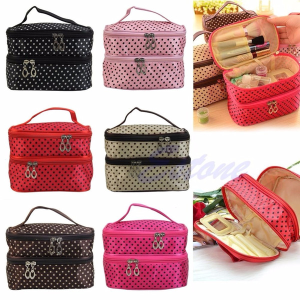 Women Travel Cosmetic Polka Dots Makeup Double Layer Case Pouch Organizer Bag