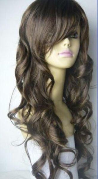 Perruque Livraison Gratuite Chaud résistant à la chaleur Parti cheveux Nouvelle perruque long cheveux bruns foncés perruque cosplay bouclés