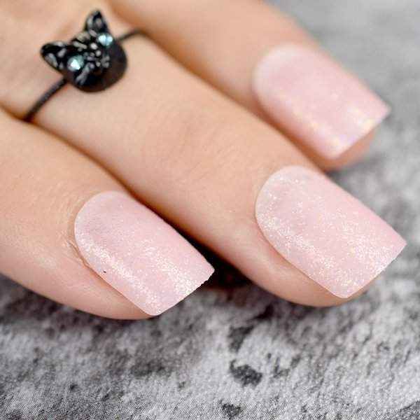 Baby Pink Short False Nails Tips Light Pink With Shimmer Glitter Full Cover Artificial Fake Nail For Home Office Faux Ongles Nail Tips Nail Varnish