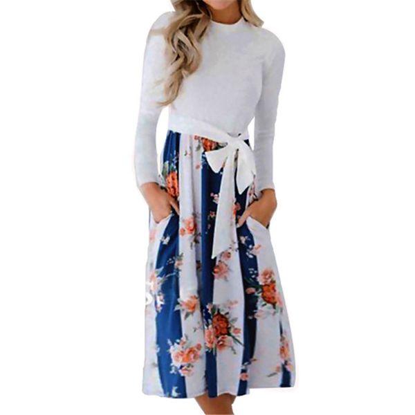Outono 2018 mulheres dress casual patchwork estampa floral dress manga longa moda praia vestido de verão vestidos de festa