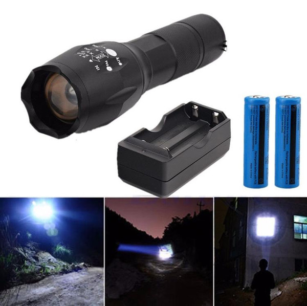 Mini Tactical T6 LED Flashlight Rechargeable Camping Torch T67 black flashlight +2* 18650 battery + double chaeger from USA