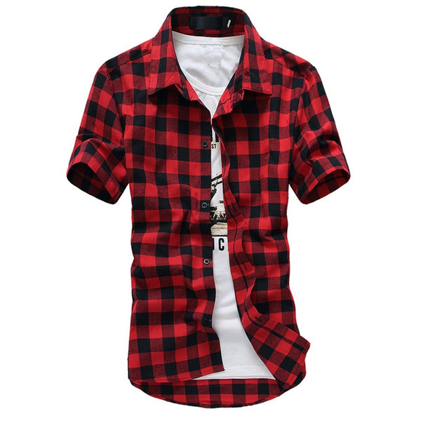 Chemise à carreaux hommes chemises 2019 nouvelle mode d'été chemise homme chemises à carreaux chemise à manches courtes hommes pas cher rouge et noir # 388570