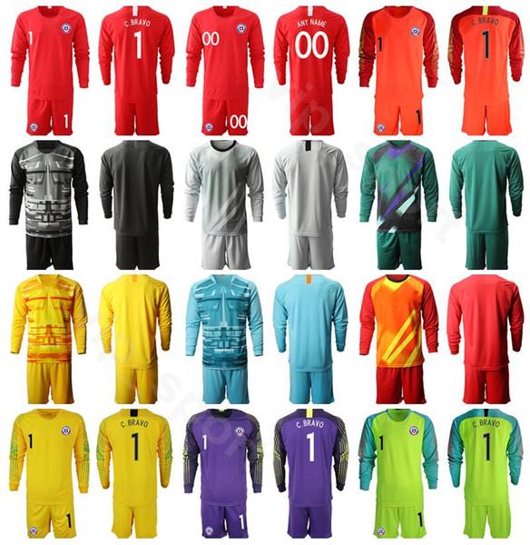 chile long sleeve goalkeeper gk jersey set men soccer goalie 1 gabriel arias 1 claudio bravo 12 brayan cortes football shirt kits uniform
