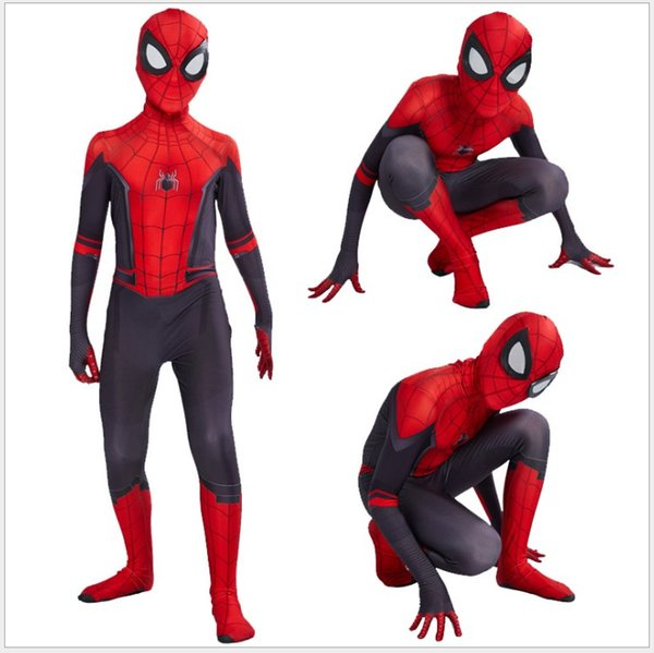 2019 Neuheiten Kinder Spider Man Fernab von Zuhause Peter Parker Cosplay Kostüm Zentai Spiderman Superheld Bodysuit Anzug Overalls