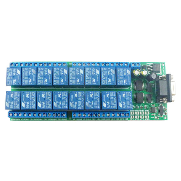 16-Kanal-12VDC Smart Home DIY serielle RS232-COM-Controlled Relais-Board DB9 UART AT-Befehls-Switch-Modul