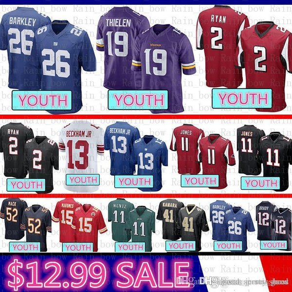sports shoes cf3f7 6efcf 2019 Top Youth Minnesota 19 Vikings Adam Thielen Jersey New York Gaints 26  Saquon Barkley 13 Odell Beckham Jr Atlanta 2 Ryan Julio Jones Falcons From  ...