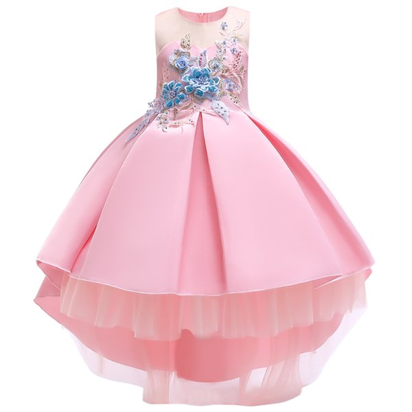 Infant Embroidery Girl's Pageant Dresses For Teens High low Princess Flower Girl Dresses Birthday Party Dress Ball Gown Organza 2019