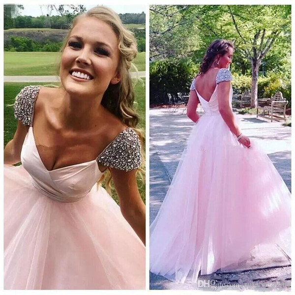 Beautiful Beaded Cap Sleeves Prom Dresses Pink A Line Floor Length Long Formal Party Gown Sexy Backless Tulle Dresses Evening Wear 2019