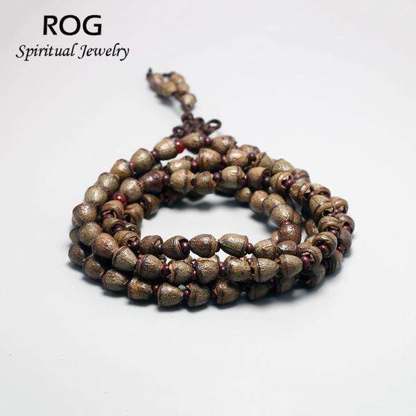 Natürliche kleine Glocke Bodhi Samen 108 Perlen Armband handgemachte Mala Holz Rosenkranz Perlen Armband Buddha Gebet Pulseira