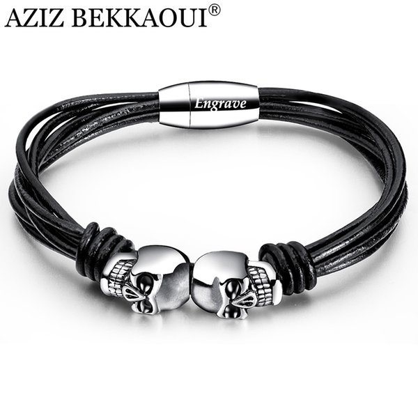 AZIZ BEKKAOUI Vintage Black Double Skull Bracelets For Men Engrave Name Stainless Steel Personalized Name Bangle Male Jewelry
