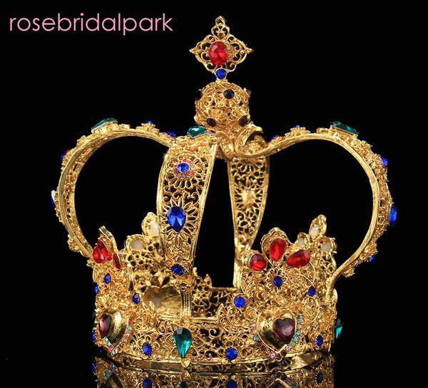 rosebridalpark elegant queen wedding tiaras and crowns gold king tiara big crown bridal hair accessories jewelry for brides A443 C18122501