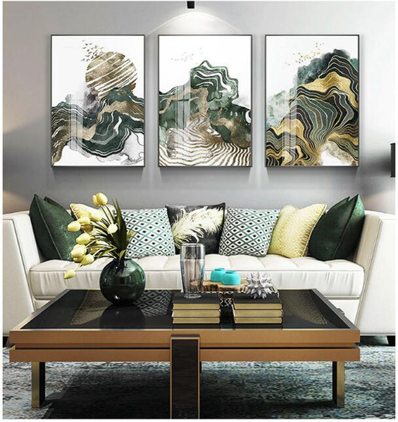 2019 Chinese Abstract Sofa Background Wall Painting Bedside Murals In Porch  Bedrooms Light And Luxurious Golden Living Room Decorative Paintings From  ...