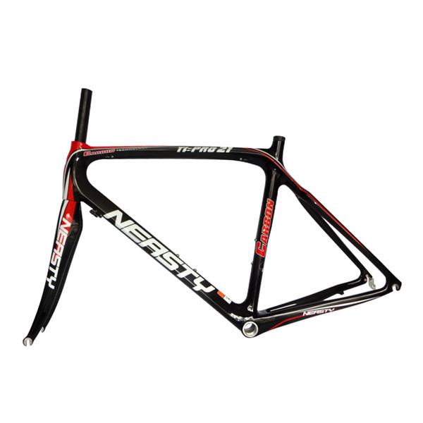 Preisreduzierung Rote und schwarze Beschriftung mit Neast Frame Ride Equipment Zubehör 48-56CM 12K Kohlefaser-Fahrrad-Fahrgestell Made in China