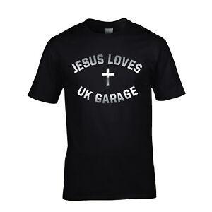 Jesus Loves UK Garage T-Shirt Mens & Ladies BlaCustom And Navy Tee Grime Club S-XXL