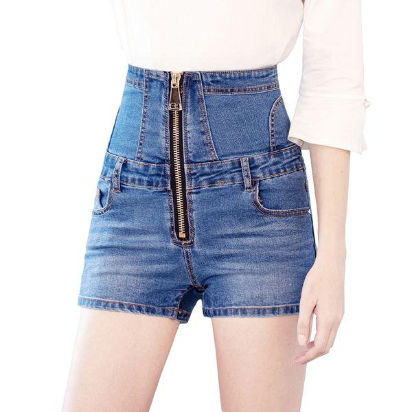 Sokotoo Cintura alta con cordones y pantalones cortos de mezclilla Verano más tamaño con cremallera jeans ajustados ajustados Negro Azul