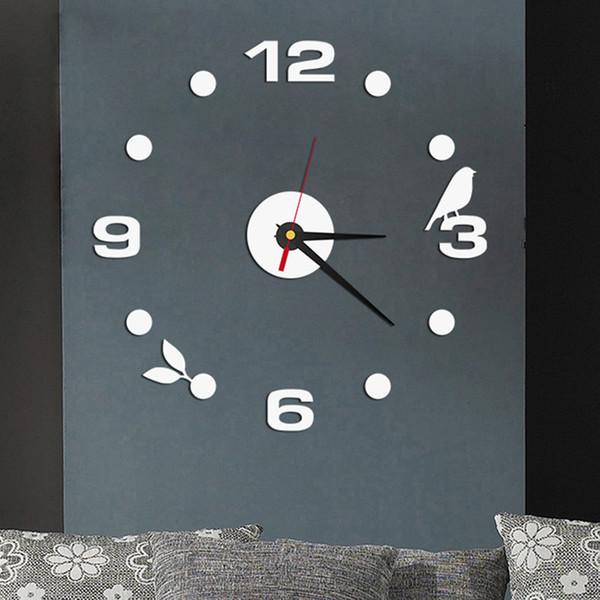 Acrylic Modern DIY Stick Wall Clock 3D Mirror Sticker Home Office Decor Gift RB