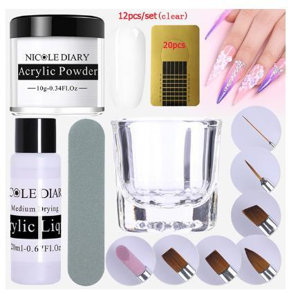 12Pcs/set Acrylic Powder Clear Extension Builder Crystal Nail Glitter Powder Chrome 3D Nail Tips Carving Manicure Art Tools