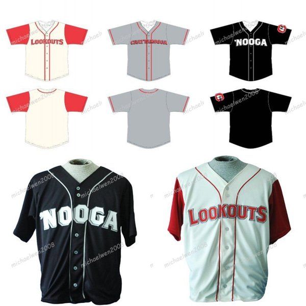 mens chattanooga lookouts beige grey black custom double stitched shirts baseball jerseys high-quality, Blue;black