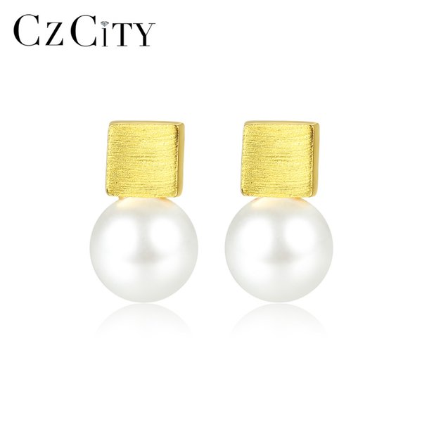 CZCITY Luxury Solid Brush 925 Sterling Silver Stud Earrings for Women Fine Jewelry Imitation Pearl Pendientes Femme Gifts SE0376