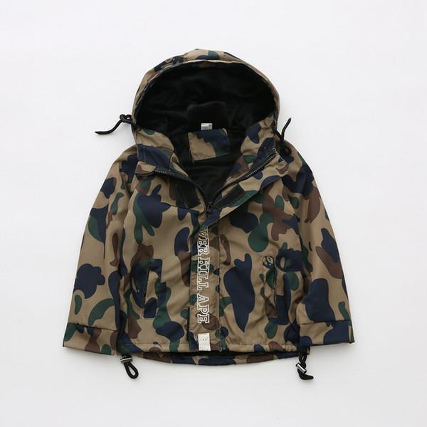Korean Children's Clothing Children's Camouflage Jacket Autumn And Winter New Baby Boy Plus Velvet Jacket Children's Outerwear