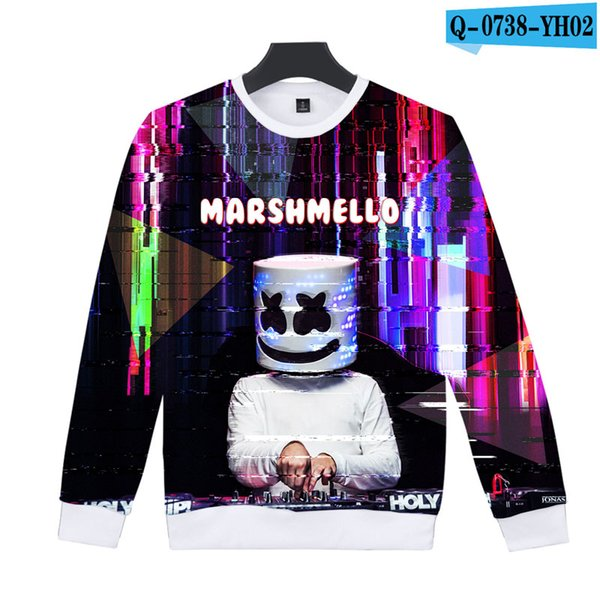 marshmello mens designer sweaters 3D Printed Women Men luxury hoodie Long Sleeve Sweatshirts hip hop Harajuku sweatshirt Casual Clothes
