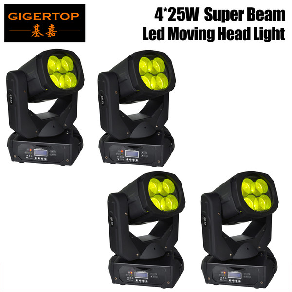 top popular Wholesales Price 4 Units 4x25W (100W)LED Super Beam+Wash Moving Head Light,LED Gobo Moving Head Beam Effect Disco Club Bar TIPTOP 2021