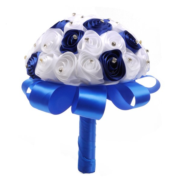 2019 Beautiful White Ivory Bridal Bridesmaid Flower Wedding Bouquet Artificial Flower Rose Bouquet Crystal Bridal Bouquets