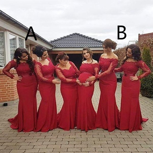 2019 New Arabic African Style Red Bridesmaid Dresses Plus Size Maternity Off Shoulder Long Sleeves Prom gowns Pregnant Formal Dresses