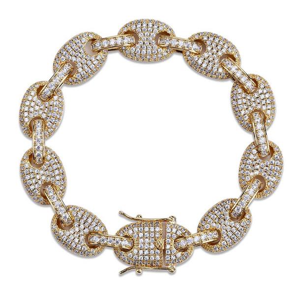 Coffee beans Bracelet Puffed Marine Chain 12mm Hip hop Gold Silver Link Bracelet Fashion Punk Choker Charms Jewelry 7inch 8inch