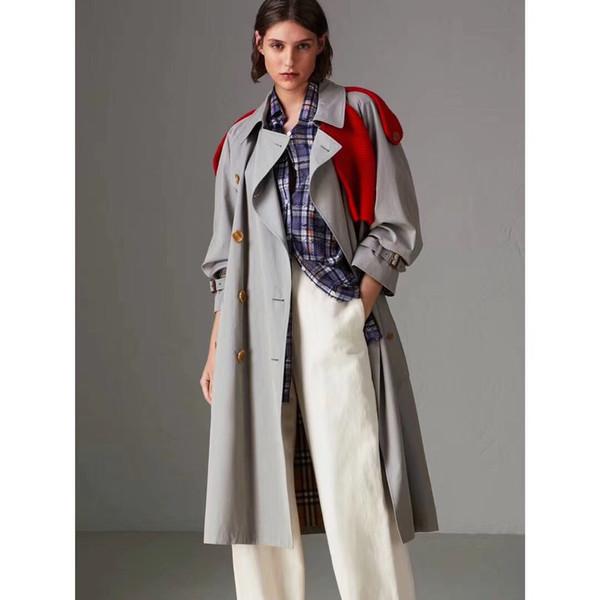 Womens new long windbreaker jacket fashion knit decoration trend wild windbreaker coats