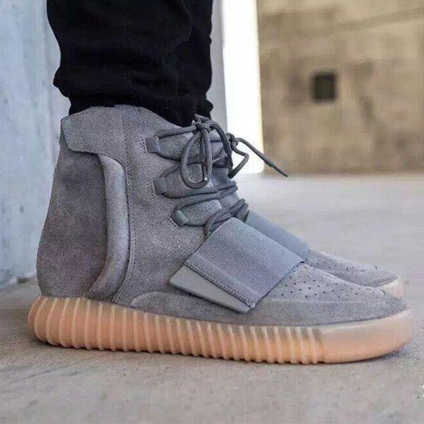 HOT shoes Kanye West 750 Boots Mens Glow Dark Light Grey Triple women Sneaker Skateboard Black High Ankle Sport Shoes Shoes size 36-46