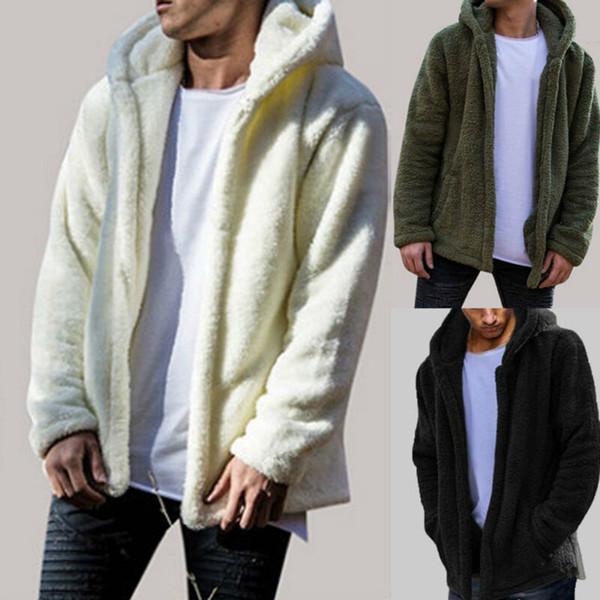 Sıcak Moda Erkekler Erkek 2018 Kış Sıcak Oyuncak Ayı Cep Coat Casual Fleece Kürk Ceket Kapüşonlular Coat Dış Giyim