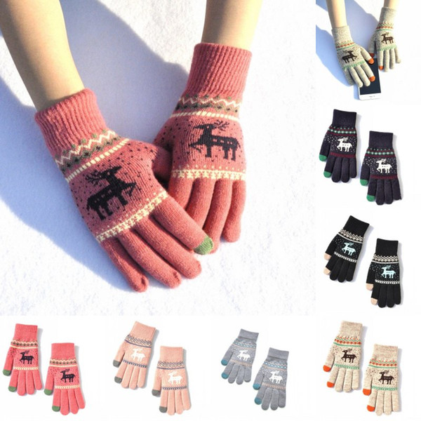Christmas Gift 6 Styles Full Finger Women Winter Warm Gloves Elk Deer Knitted Gloves Touch Screen Mittens Unisex Fashion Accessories H918Q F
