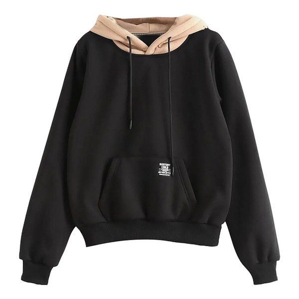 Womail femmes sweat-shirt Sweat-shirts à manches longues pullover femmes de poche Patchwork Pull Strappy Chemisier Top D300728