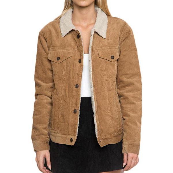 Зима Женская Camel цвет вельвет куртка с длинным рукавом отложным воротником пальто куртки Женский однобортный Основные Женщины Теплые пальто