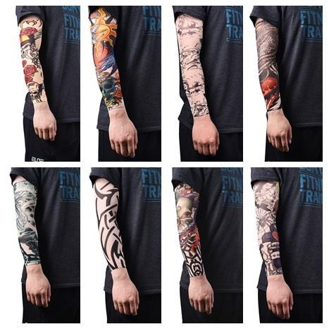 Temporary Tattoo Sleeves Arm Warmer Stockings Elastic Tattoo Sleeves Nylon Sport Skins Sun Protective Men Seamless Fake Tattoo Men's Arm Warmers
