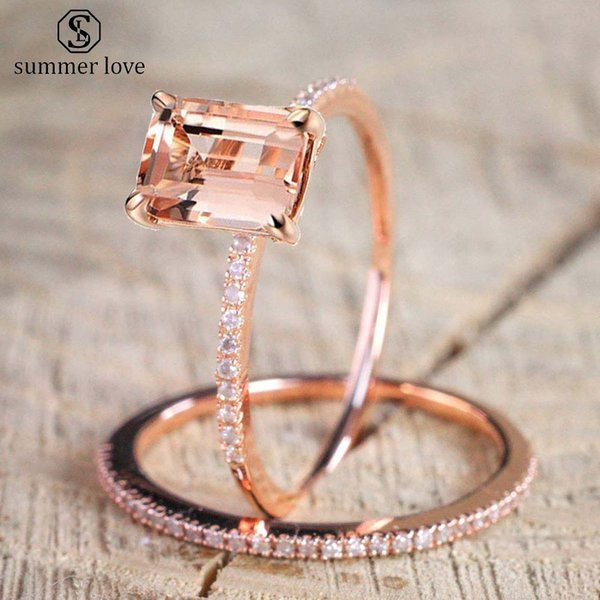 High Fashion Rose Gold Zircon Inlayed Engagement Ring for Women 2Pcs/Set Stackable Crystal Party Wedding Ring Jewelry