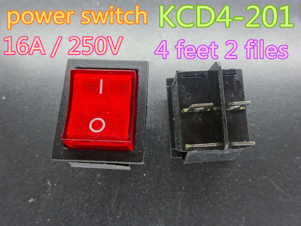 50pcs/lot New Red Rocker Switch KCD4-201 4 feet 2 files illuminated rocker power switch 16A / 250V in stock free shipping