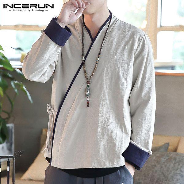 INCERUN Streetwear hommes Mode Cardigan manches longues Patchwork Yukata Manteaux Kimono Casual Retro Cotton Linen Baggy vestes pour hommes